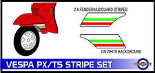 Fender Stripe Sticker Set Fits Vespa PX T5 Red and Green Decals ST2