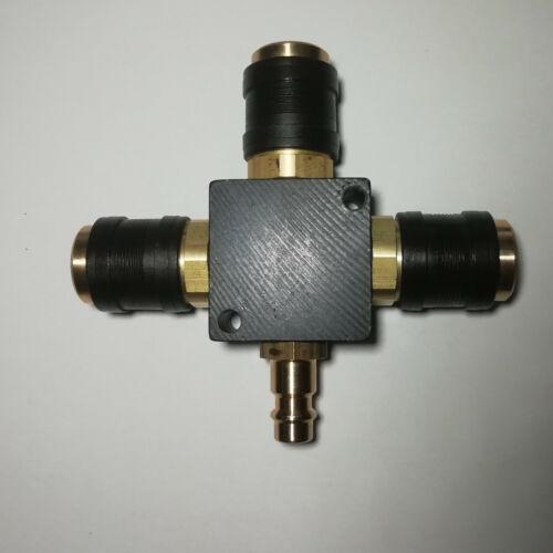 Druckluft Verteiler  dreifach Schnellkupplung Luftverteiler Einhandkupplung