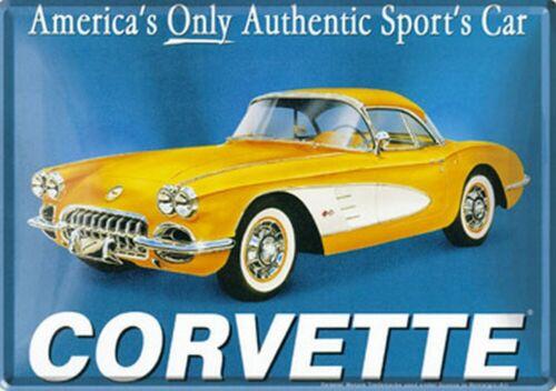 Corvette Gelb Blechpostkarte