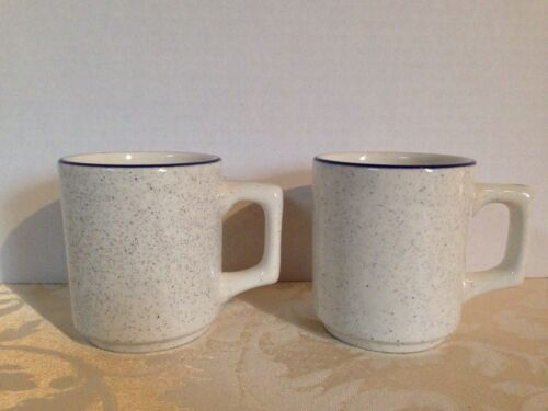 2 Vintage Buffalo China Restaurant Ware Blue Stripe /& Speckled Coffee Cup Mugs