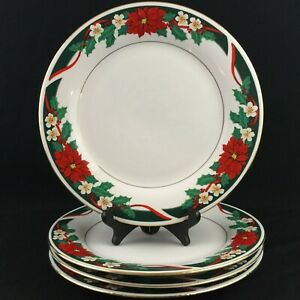 Set-of-4-VTG-Dinner-Plates-by-Tienshan-DECK-THE-HALLS-Christmas-Poinsettia