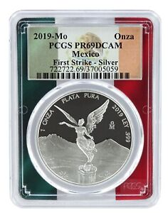 2019-Mexico-1oz-Silver-Onza-Libertad-PCGS-PR69-DCAM-First-Strike-Flag-Frame