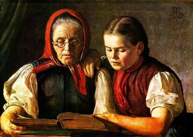 Mother and sister of the artist Hans Thoma Bible Reading Bauer H a3 0100