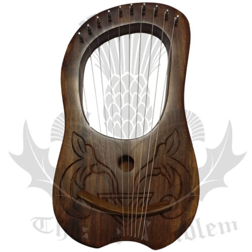 Lyre Harp 10 Metal Strings Rose Wood Natural Engraved + Carrying Case/Lyra Harps
