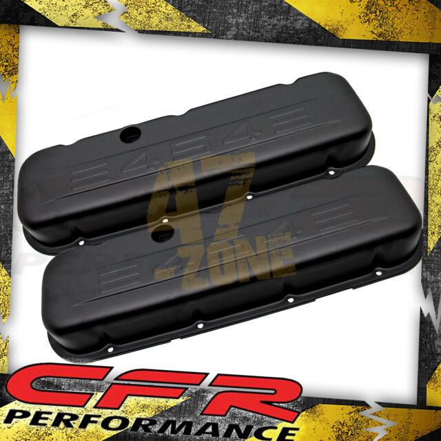 Steel 65-95 Chevy Bb Short Valve Covers C.I.D 454 Logo Powder Coated Matte Black