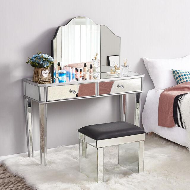 Purple Mirrored Dressing Table Stool, Glass Dressing Table Set