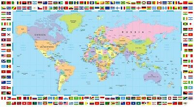 The New Map Of The World.New Map Of The World With Different Country Flags 54 X 36 2 For 23 Ebay