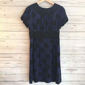 DVF-Diane-Von-Furstenberg-Silk-Short-Balloon-Sleeve-Dress-Blue-Black-41001-Sz-8