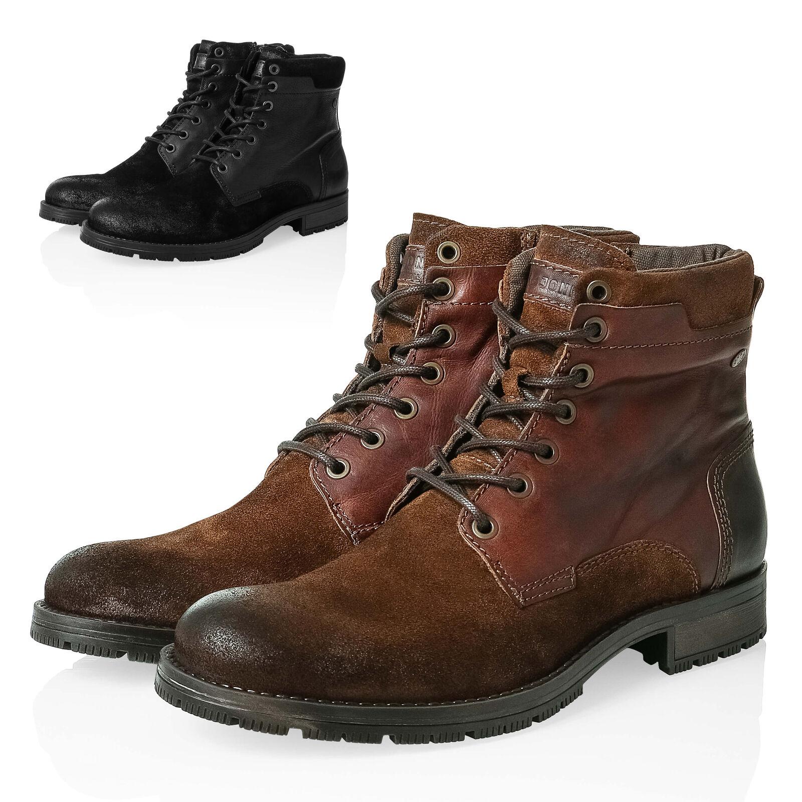Jack & Jones señores schnürbotas botas botines de cuero genuino zapatos caballero nuevo%