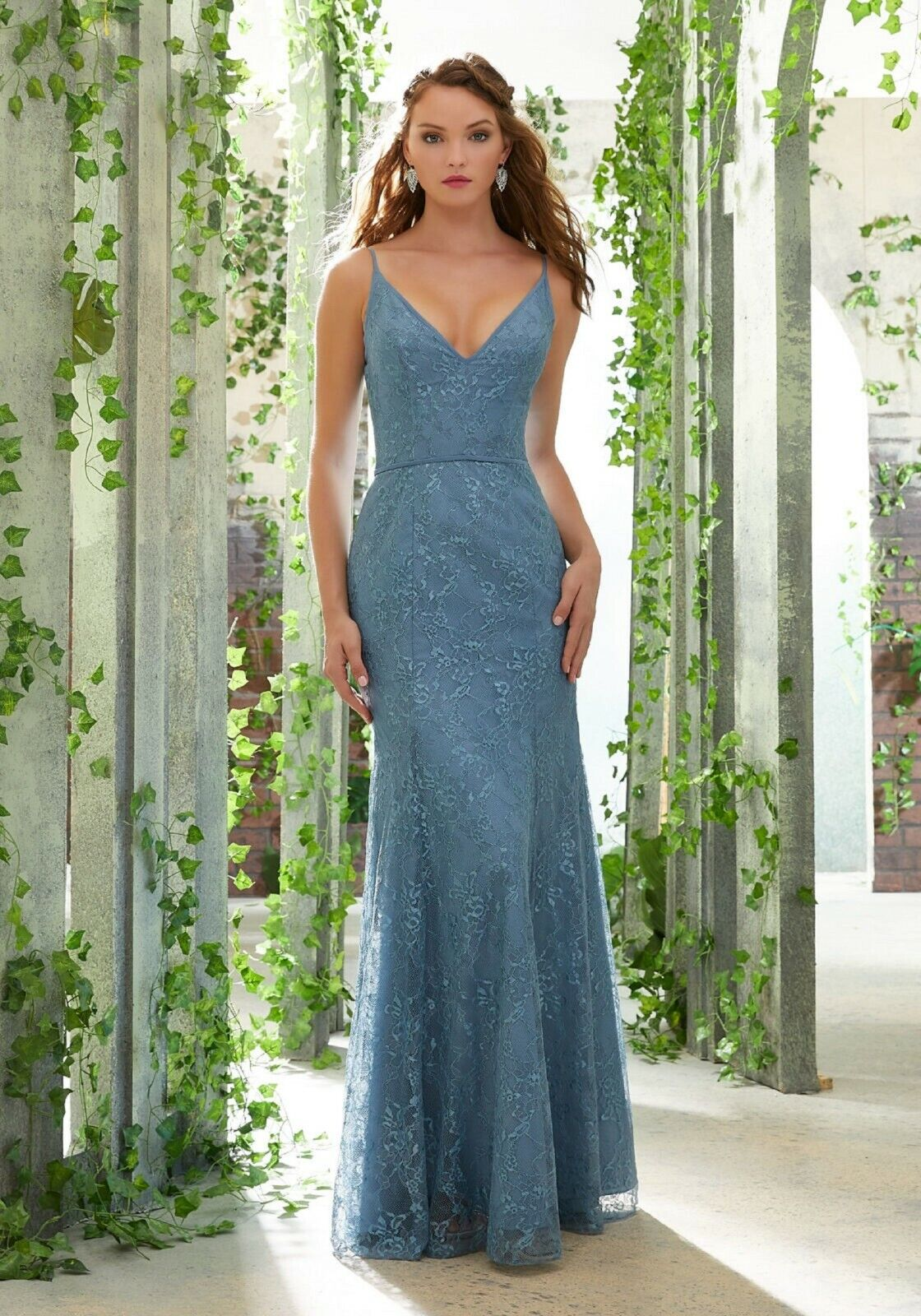 NWT LOT of 2 matching Size 10's Mori Lee 21610 Slate blue LACE, Bridesmaid