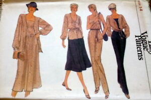 NEW-Vintage-70s-80s-BLOUSE-CAMISOLE-SKIRT-PANTS-VOGUE-Sewing-Pattern-14-36-UNCUT