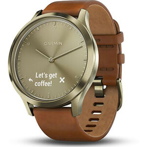 Garmin Vivomove HR, Premium, Gold Tone w/ Leather Band (Small/Medium)