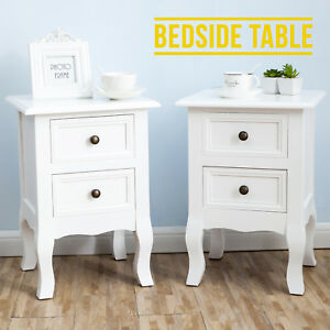 White Bedside Cabinets Set Of 2 Wooden Tables Nightstand With 2
