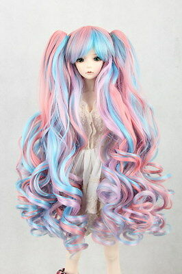 """BJD Doll Hair Wig 7-8"""" 1/4 SD DZ DOD LUTS Multi-color Curly with ponytails"""