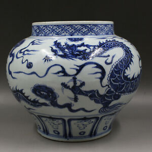 Chinese Old Blue and White Dragon Among Cloud Pattern Porcelain Jar