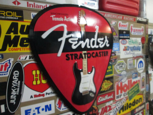 Fender STRATOCASTER PICK DISPLAY SIGN Electric Vintage Cool Look Metal Embossed