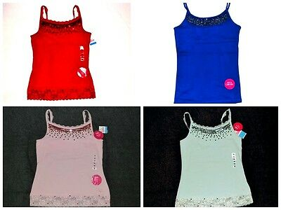 NEW Girls Justice Summer Sequin Cami Top 10 12 14 Red Blue Pink Mint NWT