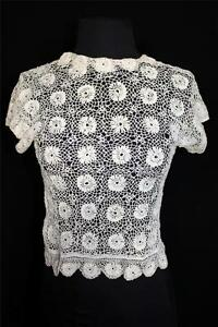VERY-RARE-FRENCH-ANTIQUE-EDWARDIAN-TEA-COLOR-HAND-MADE-IRISH-LACE-BLOUSE-SIZE-34