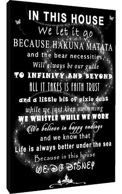 We Do Disney In This House Quote on CANVAS WALL ART Picture Print Black /& White