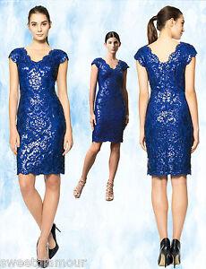 c6d1a6ceaeec $328 Tadashi Shoji Sequin Embroidered Lace Mystic Blue V-Neck Sheath ...