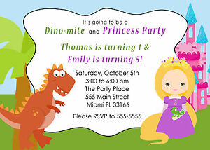 30 dinosaur princess invitation cards kids birthday party invite