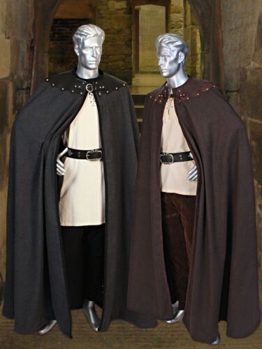 Medieval or Renaissance Heavy Fleece Cape Cloak Leather Trimmed and Lined