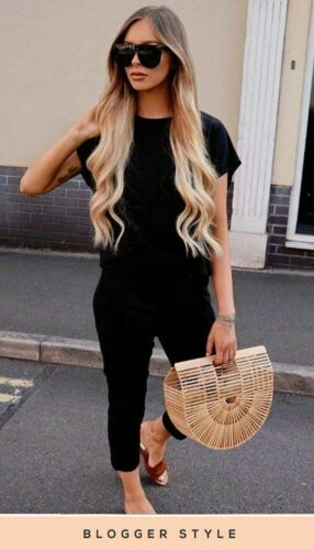 Boxy Short Sleeve Casual Comfy Two Piece Lounge Suit Set in Black RRP £29.99