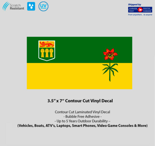 "3.5/"" x 7/"" Saskatchewan Flag Laminated Vinyl Decal"