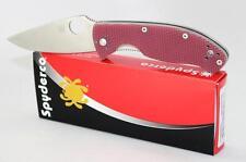 Spyderco Tenacious Pocket Knife Red Check G10 Handle Plain Edge C122GPRC