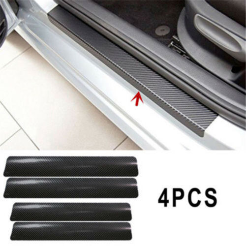 4pc Car Door Sill Scuff Carbon Fiber Stickers Welcome Pedal Protect Accessori BN