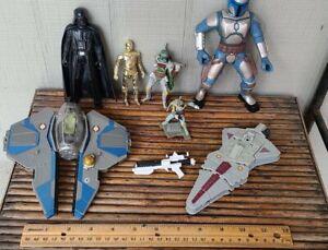 Mixed Lot Of Star Wars Action Figures, toys And Vehicles Darth Vader, Boba