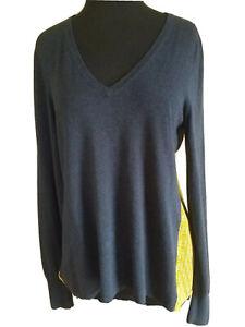 Anthropologie-Lilla-P-Women-s-Sweater-V-Neck-Long-Sleeve-Blue-Green-Size-XS