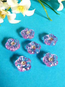 299B-Charming-Small-Buttons-034-Plum-Pie-034-Heart-Rhinestone-Set-of-6-Buttons