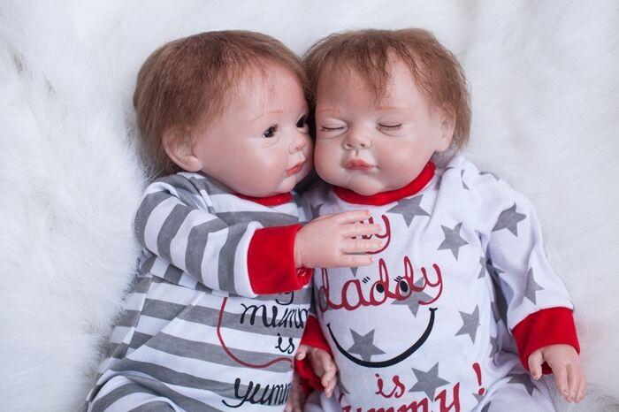 Silicona Reborn Gemelos de 22  2 un. Vinilo Muñeca Bebé Niño Niña likelife Recién Nacido Regalos