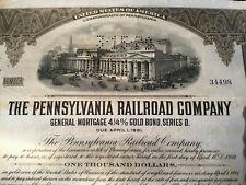 Pennsylvania Railroad Company Stock Certificates - Set of Three (Collectable)