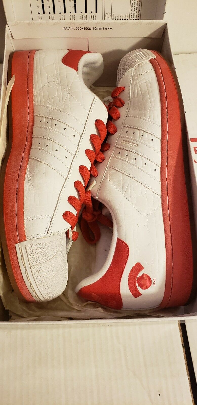 Adicolor superstar 2 manhattan r6 adidas 562912 sz 11,5 originale weiße und rote