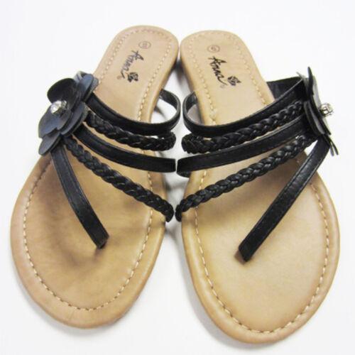 Women/'s Black Flip Flops Flats Sandals Flower Rhinestone Thongs Size 5.5-10