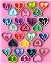 Heart Letters 28 Cavity Silicone Mold for Fondant, Gum Paste, Chocolate, Crafts