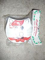 Craft Creations Paper Mache Box Christmas Cat In Santa Hat Holiday Crafting