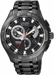 Citizen-Eco-Drive-Men-039-s-BL8097-52E-Calibre-8700-Perpetual-Black-Ion-Watch-New