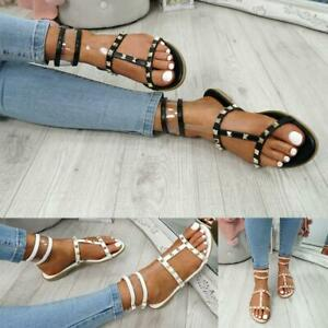 WOMENS-LADIES-ANKLE-STRAP-FLAT-SANDALS-ROCK-STUD-SUMMER-FASHION-SHOES-SIZE