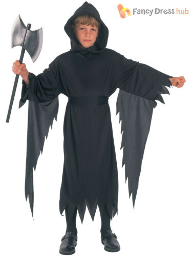 Boys Demon Costume Childs Halloween Grim Reaper Ghoul Fancy Dress Outfit Scary