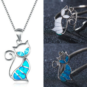 Fashion-Charm-925-Silver-Cat-White-Fire-Opal-Pendant-Chain-Necklace-Jewelry-HOT