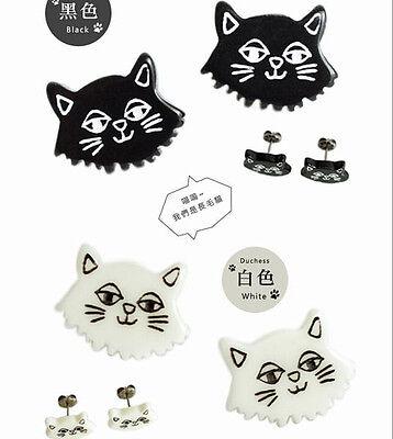 1 Pair Lovely Korea Cat Kitten Oil Drip Alloy Girl Stud Earrings Jewelry 2 Color