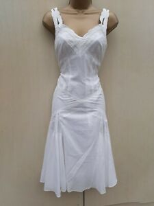 Size-12-UK-KAREN-MILLEN-White-Lace-Trim-Embroidered-Flare-Summer-Holiday-Dress