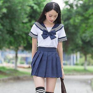 Japanese Student Short Sleeve Dress School Girls Sailor
