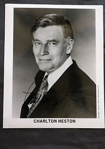 Charlton Heston Famous Film Actor Black & White Autographed Photograph