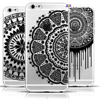 Iphone 6 Black Flowers Printed Painted Transparent Silicone Thin Case Cover