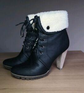 huge discount d81af 8dd48 Details zu BUFFALO GIRL Stiefel Schnürstiefeletten schwarz mit Fell Gr.38
