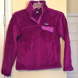 Women-s-Patagonia-Pullover-Size-Small-Retool-Snap-T-Fleece-Jacket-Sweater-Plum